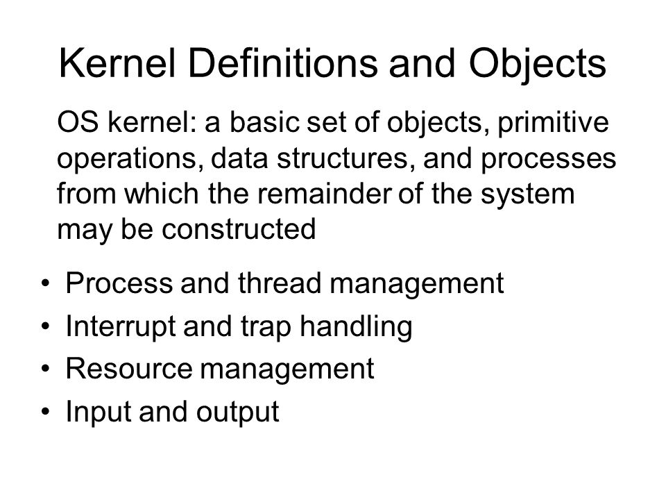 Interrupt Handling Interrupt concept -- an event occurring at an unpredictable time that forces a transfer of control out of the normal processing sequence of a computer -- the purpose of interrupt handling is to remove the notion of asynchronous events from higher levels of the kernel, the OS, and applications Common operations on interrupts -- enable -- disable -- inhibit