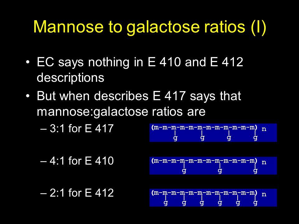 Mannose to galactose ratios (I) EC says nothing in E 410 and E 412 descriptions But when describes E 417 says that mannose:galactose ratios are –3:1 for E 417 –4:1 for E 410 –2:1 for E 412