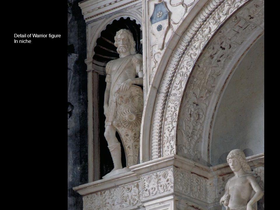Detail of Warrior figure In niche