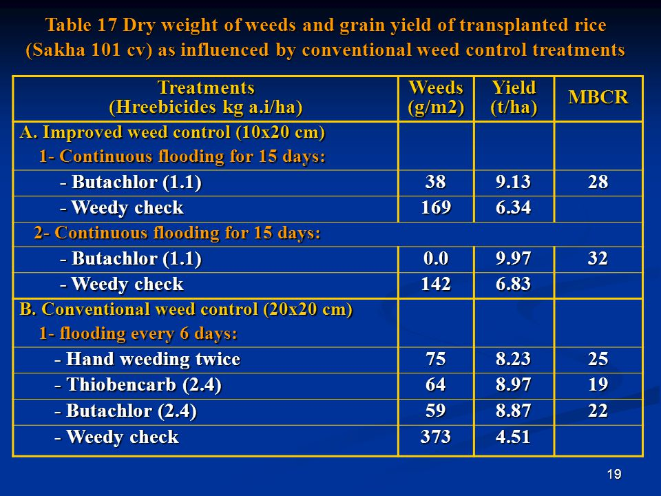 19 Table 17 Dry weight of weeds and grain yield of transplanted rice (Sakha 101 cv) as influenced by conventional weed control treatments MBCRYield(t/