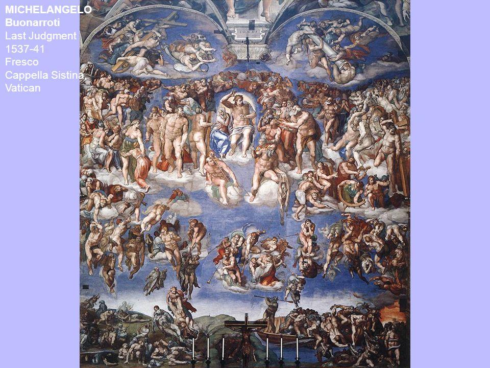 MICHELANGELO Buonarroti Last Judgment 1537-41 Fresco Cappella Sistina, Vatican