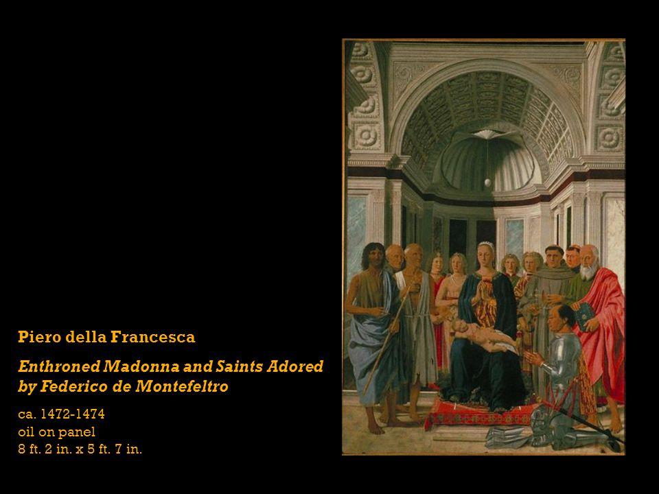Piero della Francesca Enthroned Madonna and Saints Adored by Federico de Montefeltro ca.