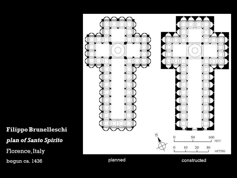 Filippo Brunelleschi plan of Santo Spirito Florence, Italy begun ca. 1436 planned constructed