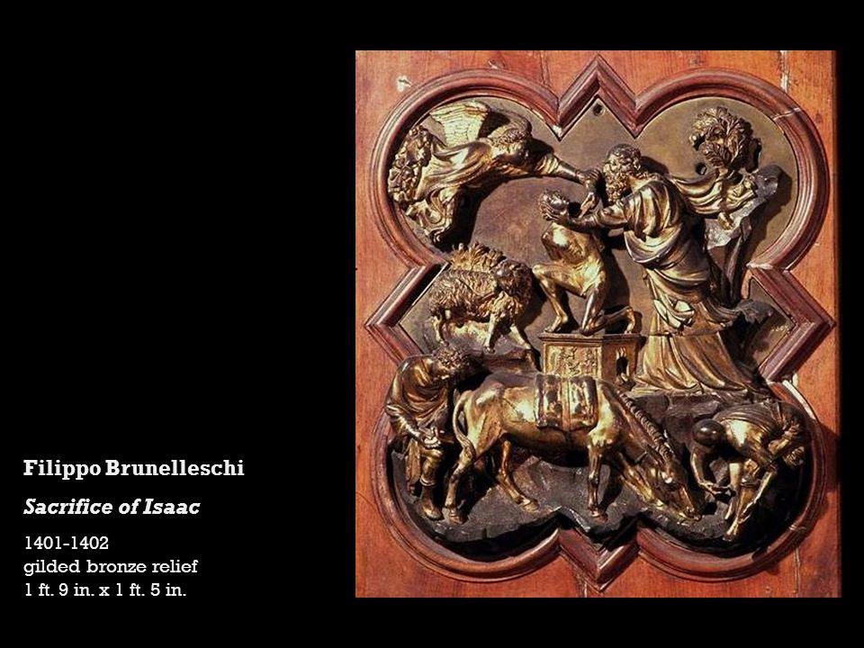Filippo Brunelleschi Sacrifice of Isaac 1401-1402 gilded bronze relief 1 ft. 9 in. x 1 ft. 5 in.