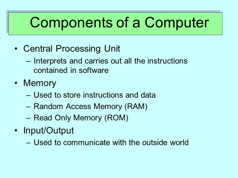 Components of a Computer Central Processing Unit –I–Interprets and carries out all the instructions contained in software Memory –U–Used to store instructions and data –R–Random Access Memory (RAM) –R–Read Only Memory (ROM) Input/Output –U–Used to communicate with the outside world