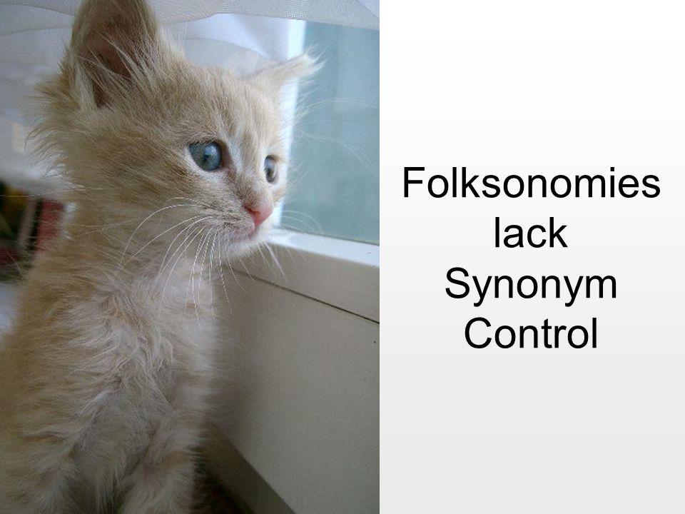 Folksonomies lack Synonym Control