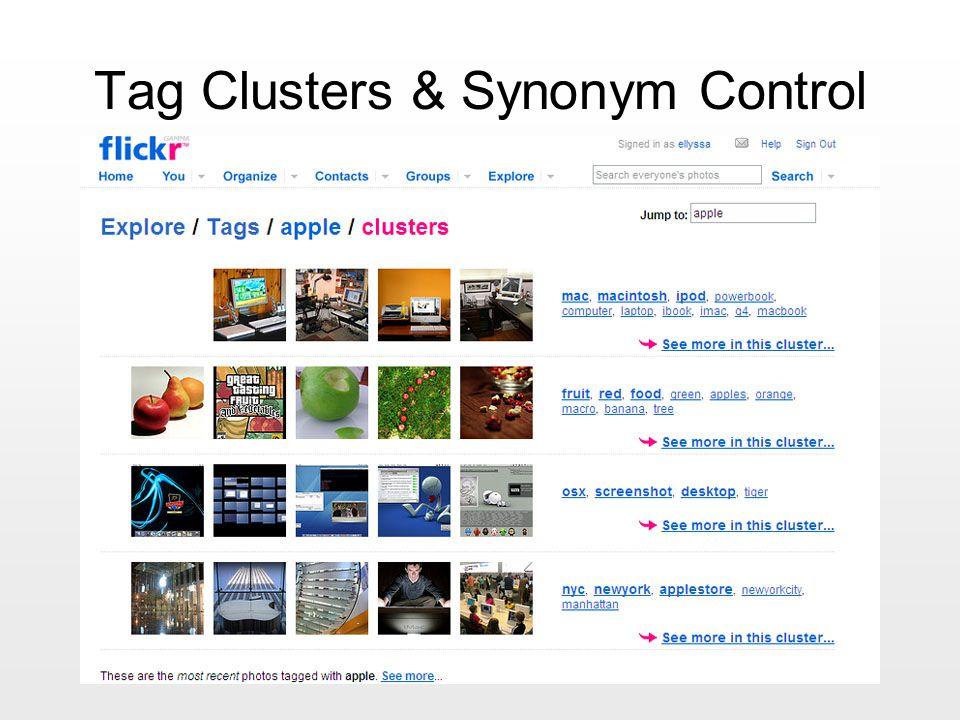 Tag Clusters & Synonym Control