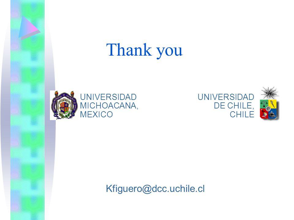 Thank you UNIVERSIDAD MICHOACANA, MEXICO UNIVERSIDAD DE CHILE, CHILE Kfiguero@dcc.uchile.cl