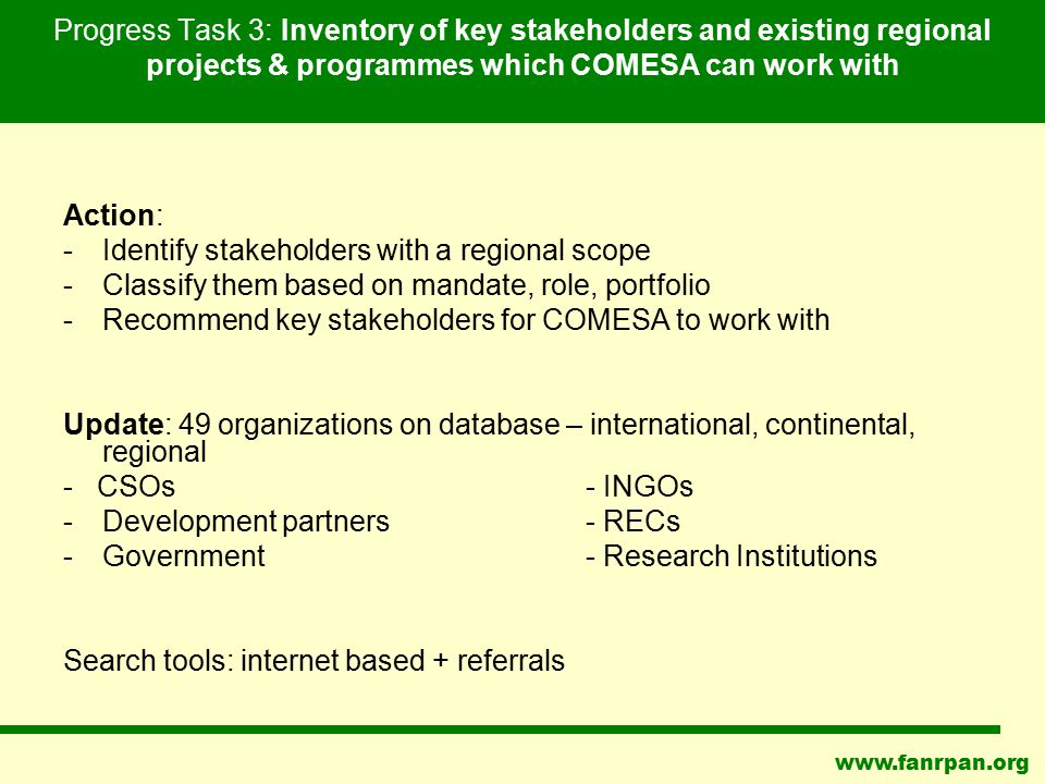 www.fanrpan.org Progress Task 3: Inventory of key stakeholders and existing regional projects & programmes which COMESA can work with Action: -Identif