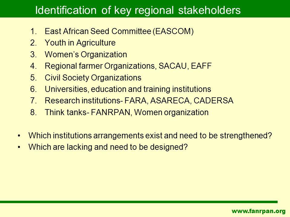 www.fanrpan.org Identification of key regional stakeholders 1.East African Seed Committee (EASCOM) 2.Youth in Agriculture 3.Women's Organization 4.Reg