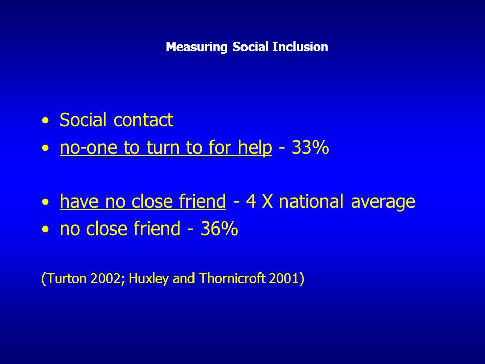 Measuring Social Inclusion Social contact no-one to turn to for help - 33% have no close friend - 4 X national average no close friend - 36% (Turton 2
