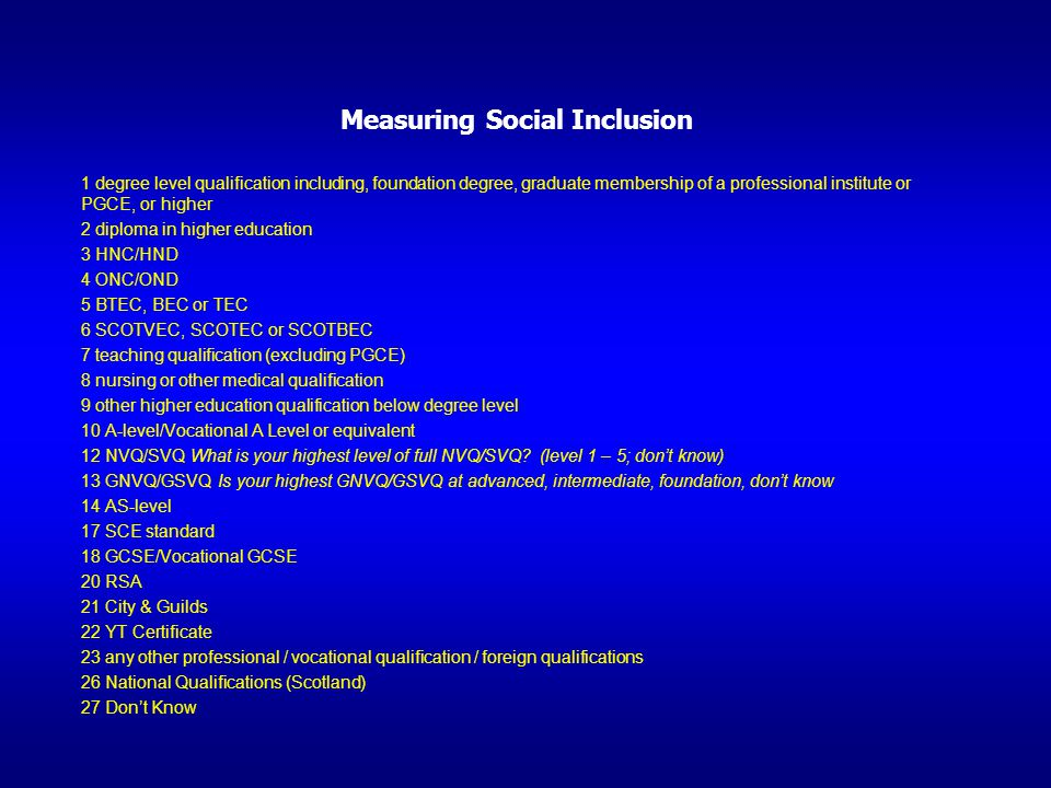 Measuring Social Inclusion 1 degree level qualification including, foundation degree, graduate membership of a professional institute or PGCE, or high