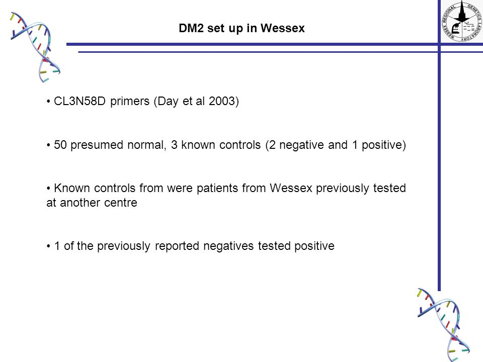 CL3N58D primers (Day et al 2003) 50 presumed normal, 3 known controls (2 negative and 1 positive) Known controls from were patients from Wessex previously tested at another centre 1 of the previously reported negatives tested positive DM2 set up in Wessex