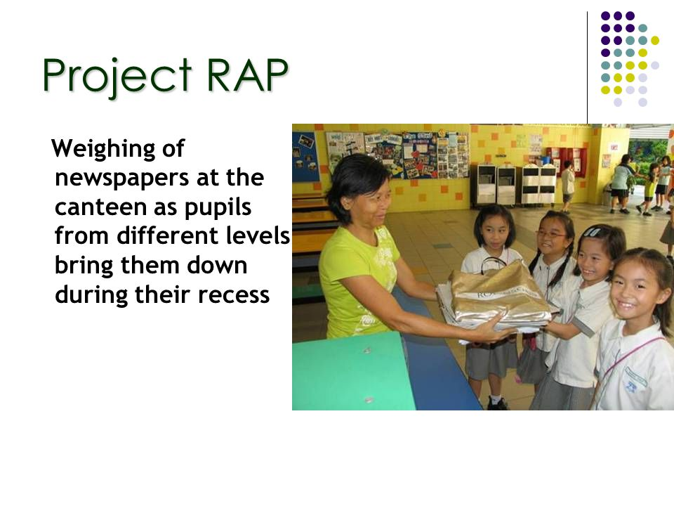 Weighing of newspapers at the canteen as pupils from different levels bring them down during their recess