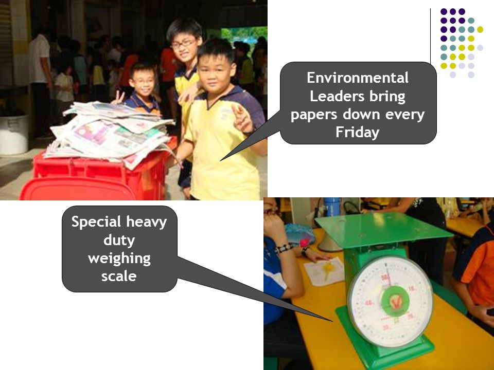 Environmental Leaders bring papers down every Friday Special heavy duty weighing scale