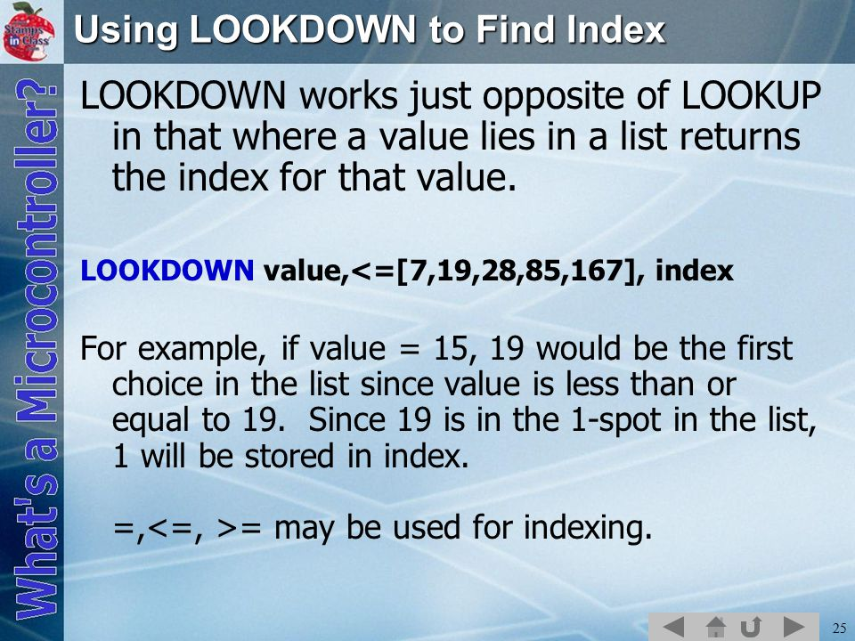 25 Using LOOKDOWN to Find Index LOOKDOWN works just opposite of LOOKUP in that where a value lies in a list returns the index for that value.