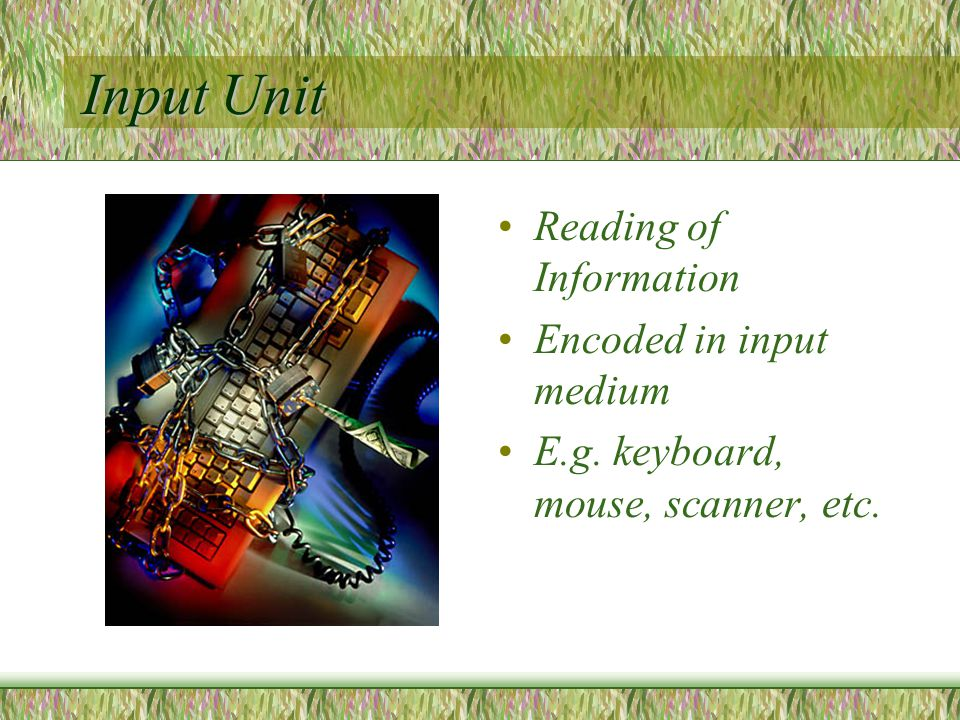 Input Unit Reading of Information Encoded in input medium E.g. keyboard, mouse, scanner, etc.