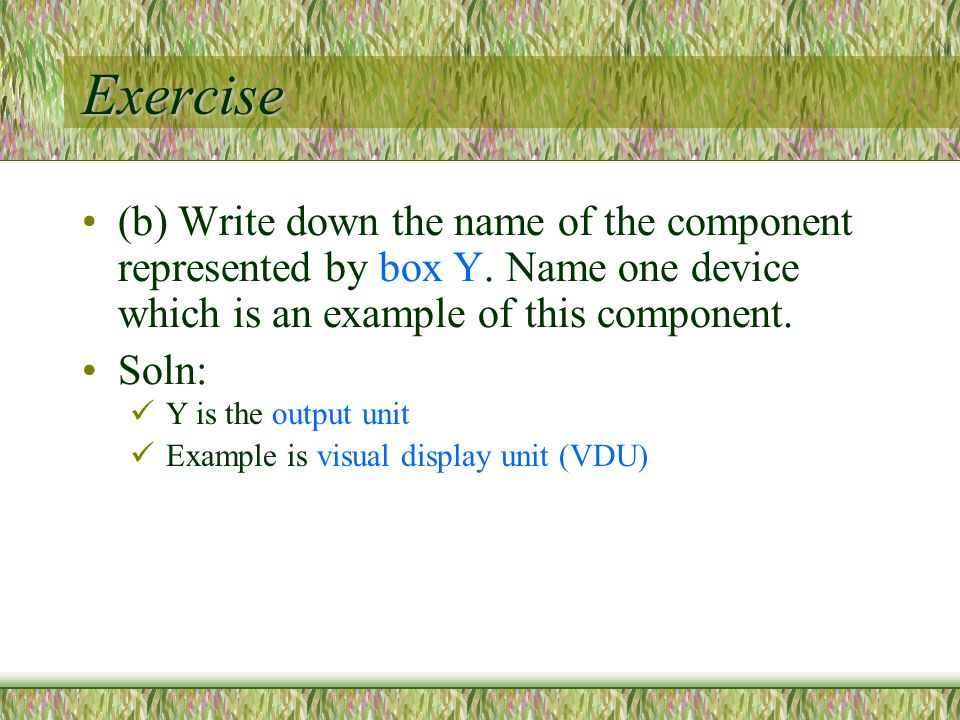 Exercise (b) Write down the name of the component represented by box Y.