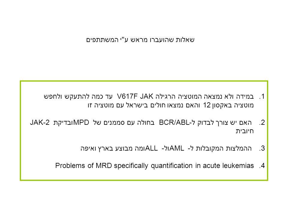 1.במידה ולא נמצאה המוטציה הרגילה V617F JAK עד כמה להתעקש ולחפש מוטציה באקסון 12 והאם נמצאו חולים בישראל עם מוטציה זו 2.