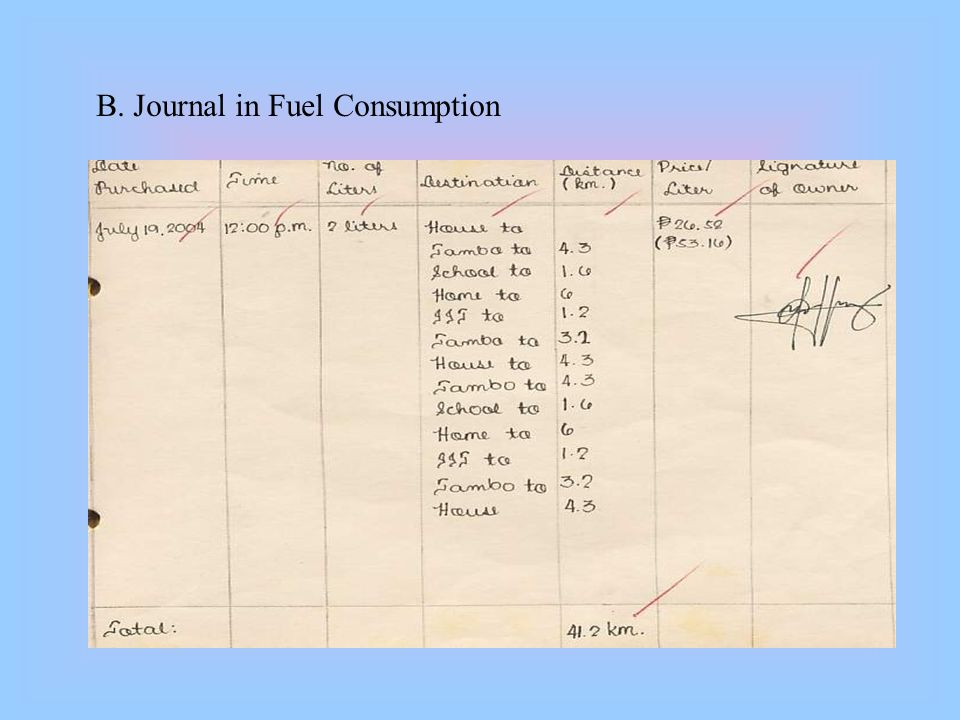 B. Journal in Fuel Consumption