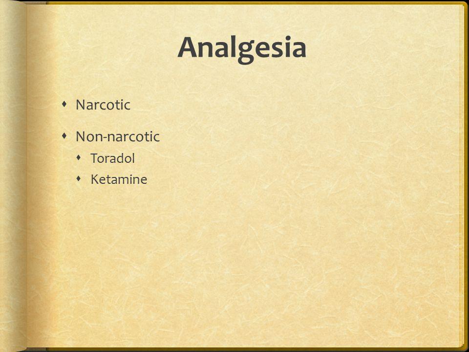 Analgesia  Narcotic  Non-narcotic  Toradol  Ketamine