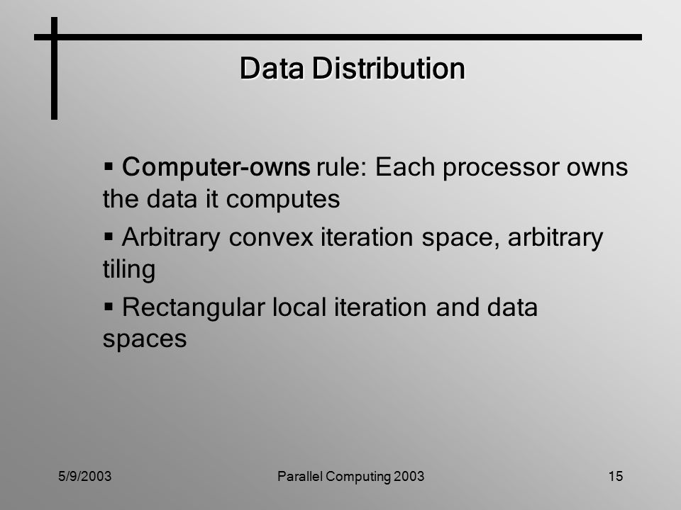 5/9/2003Parallel Computing 200315 Data Distribution  Computer-owns rule: Each processor owns the data it computes  Arbitrary convex iteration space, arbitrary tiling  Rectangular local iteration and data spaces