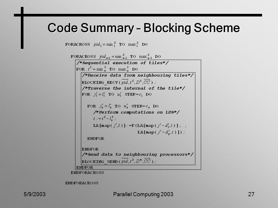 5/9/2003Parallel Computing 200327 Code Summary – Blocking Scheme