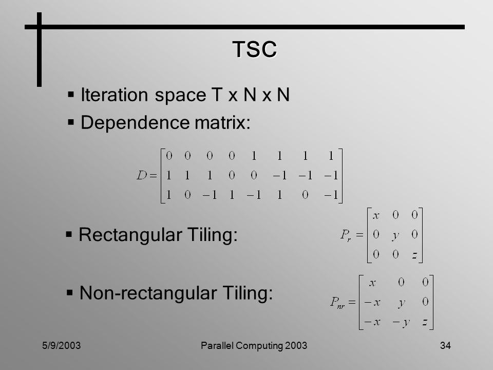 5/9/2003Parallel Computing 200334 TSC  Iteration space T x N x N  Dependence matrix:  Rectangular Tiling:  Non-rectangular Tiling: