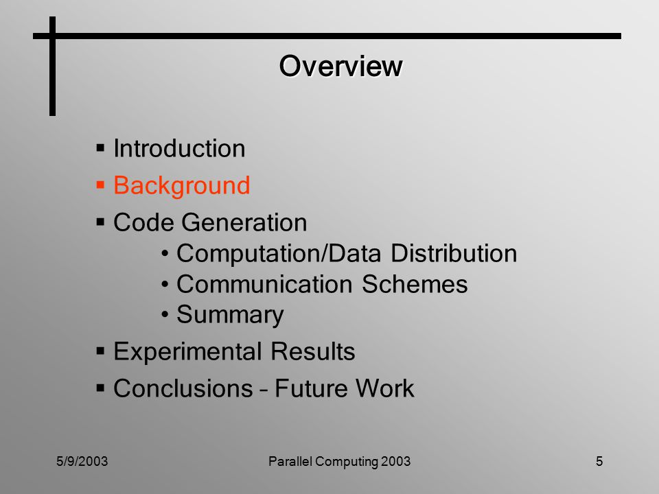 5/9/2003Parallel Computing 200326 Code Generation Summary Advanced Scheduling = Suitable Tiling + Non-blocking Communication Scheme Sequential Code Dependence Analysis Parallelization Parallel SPMD Code Tiling Transformation Sequential Tiled Code Tiling Computation Distribution Data Distribution Communication Primitives