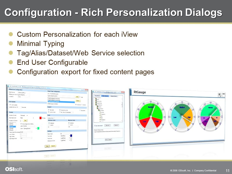 11 © 2008 OSIsoft, Inc. | Company Confidential Configuration - Rich Personalization Dialogs Custom Personalization for each iView Minimal Typing Tag/A