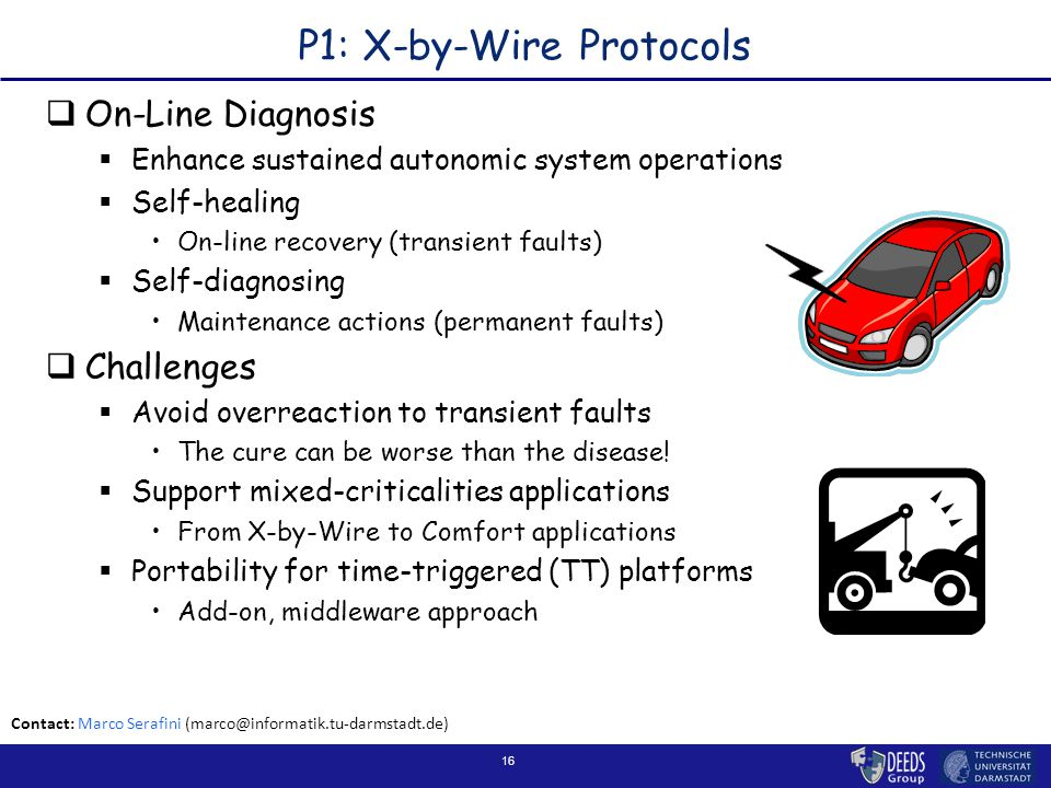 16 P1: X-by-Wire Protocols  On-Line Diagnosis  Enhance sustained autonomic system operations  Self-healing On-line recovery (transient faults)  Self-diagnosing Maintenance actions (permanent faults)  Challenges  Avoid overreaction to transient faults The cure can be worse than the disease.