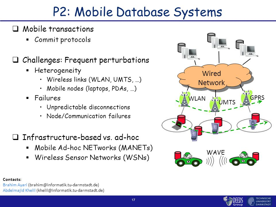 17 P2: Mobile Database Systems  Mobile transactions  Commit protocols  Challenges: Frequent perturbations  Heterogeneity Wireless links (WLAN, UMTS, …) Mobile nodes (laptops, PDAs, …)  Failures Unpredictable disconnections Node/Communication failures  Infrastructure-based vs.