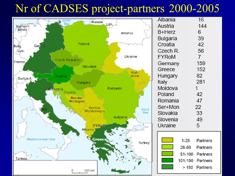 14 Nr of CADSES project-partners 2000-2005