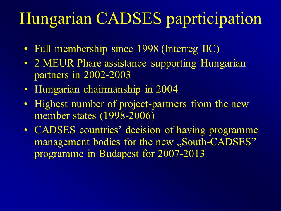 "15 Hungarian CADSES paprticipation Full membership since 1998 (Interreg IIC) 2 MEUR Phare assistance supporting Hungarian partners in 2002-2003 Hungarian chairmanship in 2004 Highest number of project-partners from the new member states (1998-2006) CADSES countries' decision of having programme management bodies for the new ""South-CADSES programme in Budapest for 2007-2013"