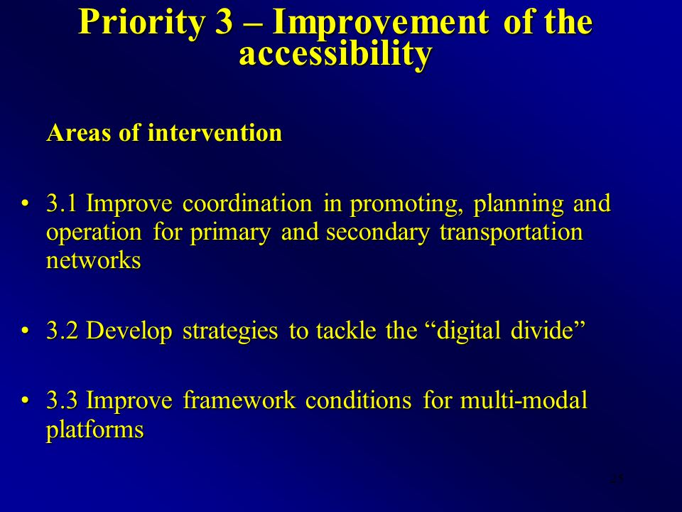 25 Priority 3 – Improvement of the accessibility Areas of intervention 3.1 Improve coordination in promoting, planning and operation for primary and secondary transportation networks3.1 Improve coordination in promoting, planning and operation for primary and secondary transportation networks 3.2 Develop strategies to tackle the digital divide 3.2 Develop strategies to tackle the digital divide 3.3 Improve framework conditions for multi-modal platforms3.3 Improve framework conditions for multi-modal platforms