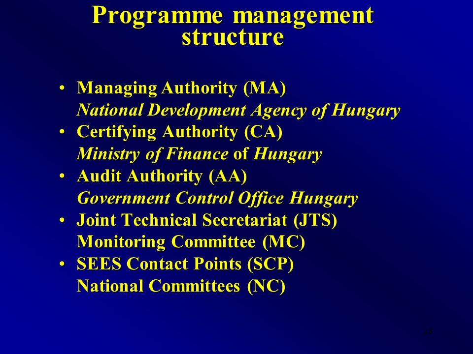 28 Programme management structure Managing Authority (MA)Managing Authority (MA) National Development Agency of Hungary Certifying Authority (CA)Certifying Authority (CA) Ministry of Finance of Hungary Audit Authority (AA)Audit Authority (AA) Government Control Office Hungary Joint Technical Secretariat (JTS)Joint Technical Secretariat (JTS) Monitoring Committee (MC) SEES Contact Points (SCP)SEES Contact Points (SCP) National Committees (NC)