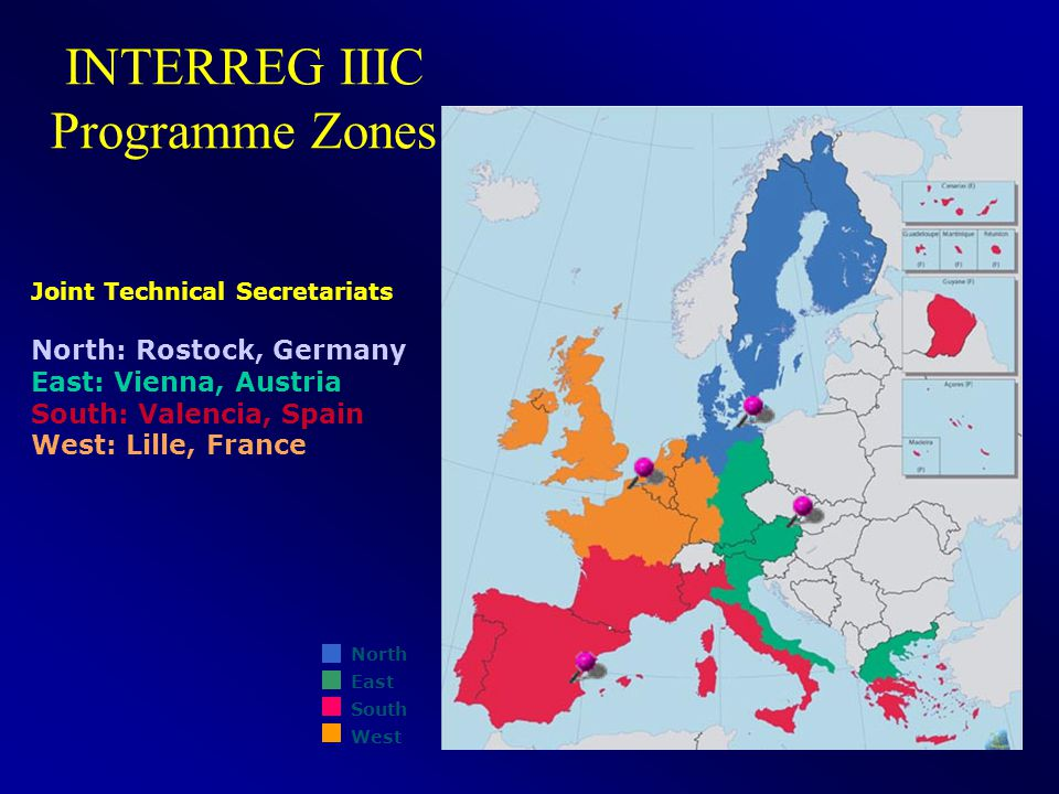 38 INTERREG IIIC Programme Zones Joint Technical Secretariats North: Rostock, Germany East: Vienna, Austria South: Valencia, Spain West: Lille, France North East South West