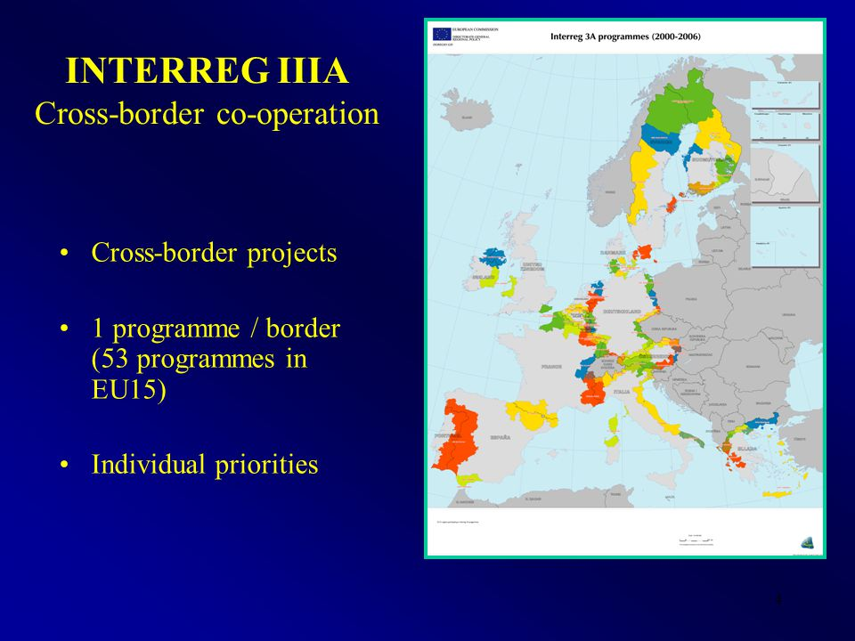 4 INTERREG IIIA Cross-border co-operation Cross-border projects 1 programme / border (53 programmes in EU15) Individual priorities