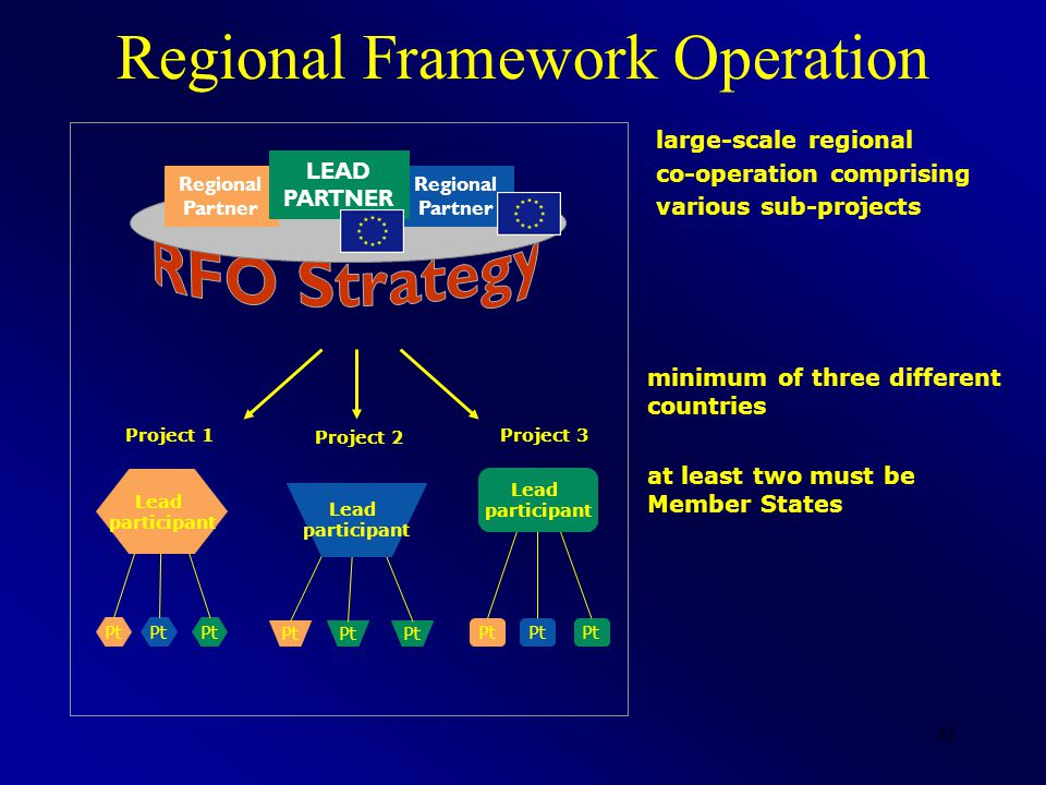41 Pt Lead participant Project 1 Pt Lead participant Project 3 Pt Lead participant Project 2 Regional Partner Regional Partner LEAD PARTNER minimum of three different countries at least two must be Member States Regional Framework Operation large-scale regional co-operation comprising various sub-projects