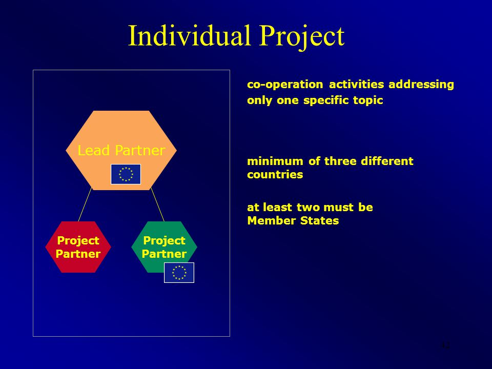 42 Lead Partner Individual Project minimum of three different countries at least two must be Member States Project Partner Project Partner co-operation activities addressing only one specific topic