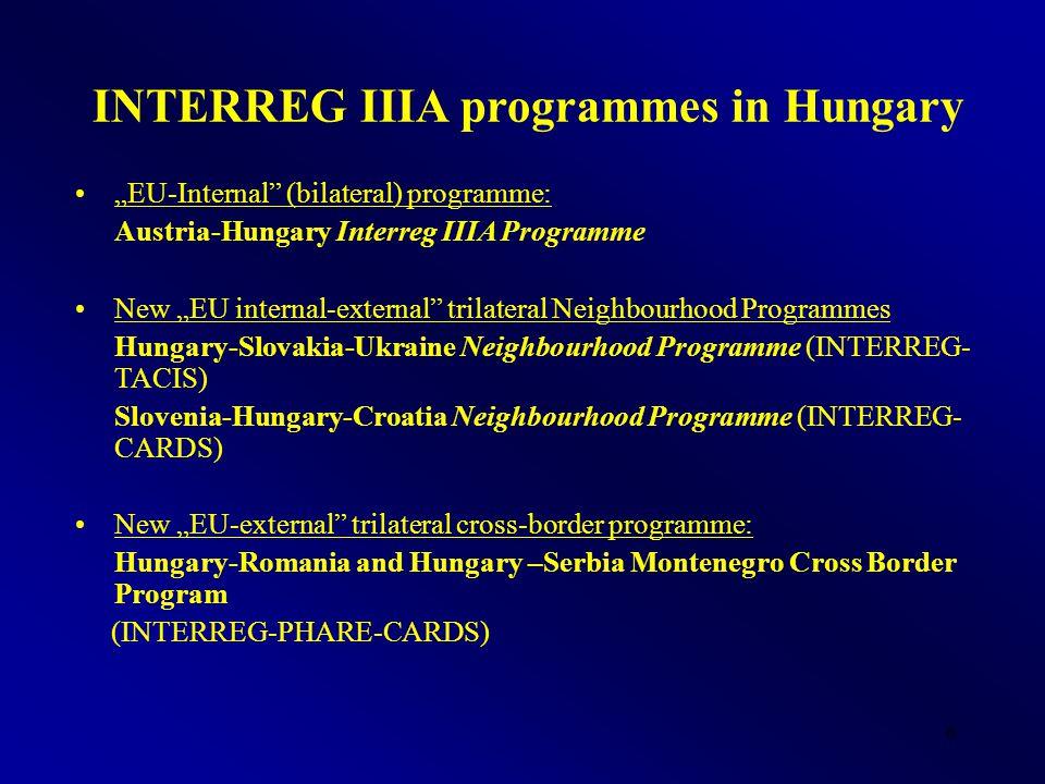 """6 INTERREG IIIA programmes in Hungary """"EU-Internal"""" (bilateral) programme: Austria-Hungary Interreg IIIA Programme New """"EU internal-external"""" trilater"""