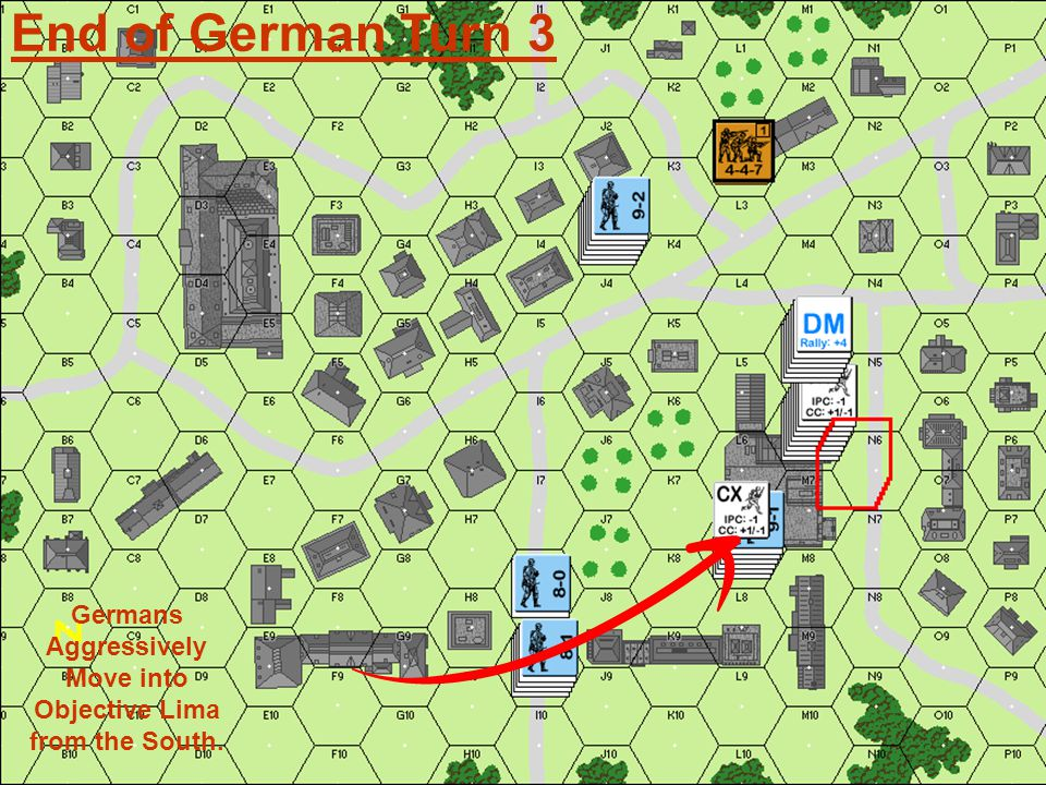End of German Turn 3 Germans Aggressively Move into Objective Lima from the South.