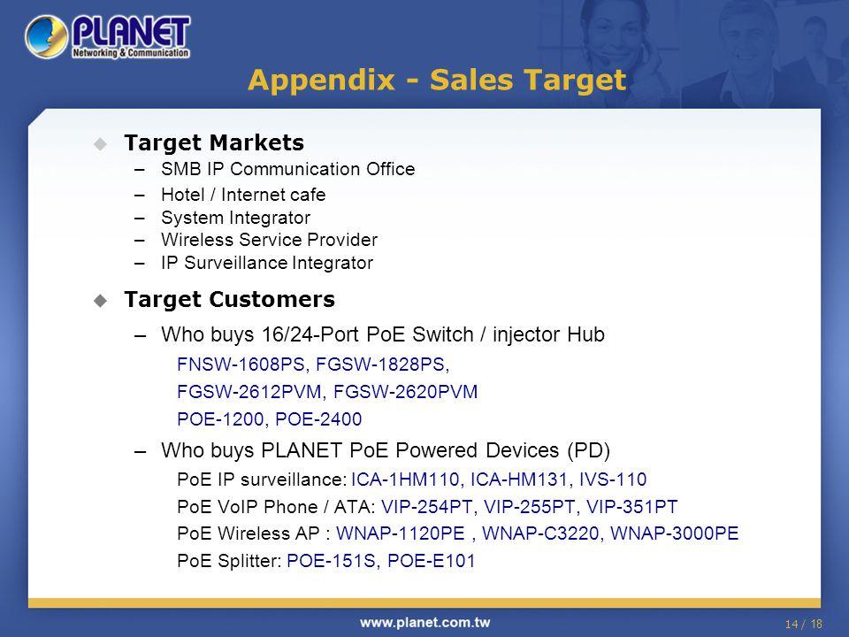 14 / 18  Target Markets –SMB IP Communication Office –Hotel / Internet cafe –System Integrator –Wireless Service Provider –IP Surveillance Integrator