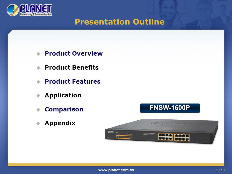 2 / 18 Presentation Outline  Product Overview  Product Benefits  Product Features  Application  Comparison  Appendix FNSW-1600P