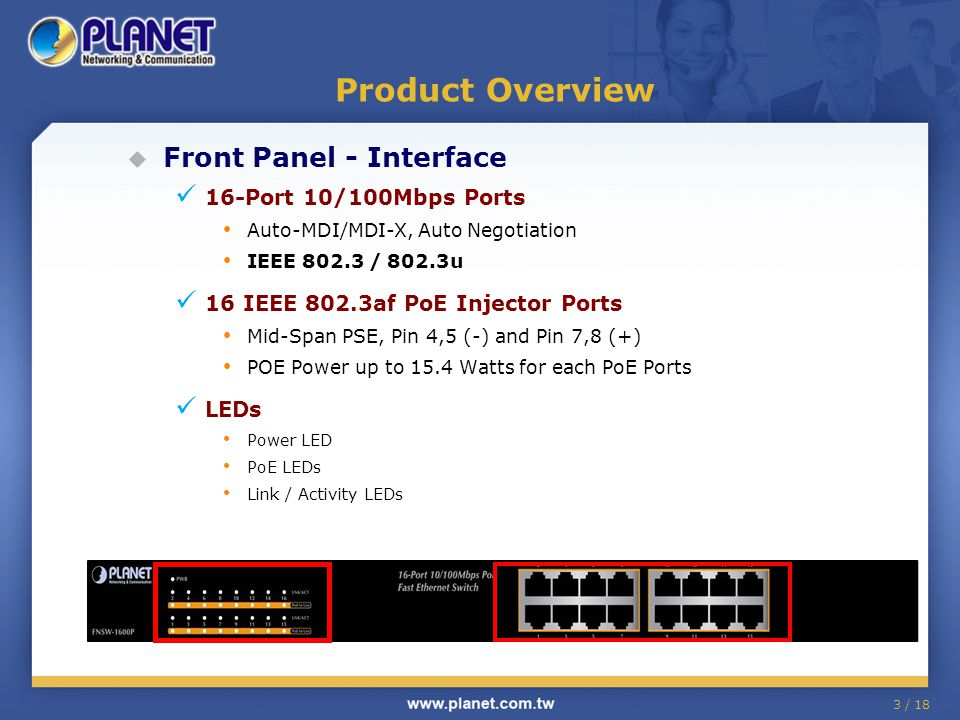 3 / 18 Product Overview  Front Panel - Interface 16-Port 10/100Mbps Ports Auto-MDI/MDI-X, Auto Negotiation IEEE 802.3 / 802.3u 16 IEEE 802.3af PoE Injector Ports Mid-Span PSE, Pin 4,5 (-) and Pin 7,8 (+) POE Power up to 15.4 Watts for each PoE Ports LEDs Power LED PoE LEDs Link / Activity LEDs