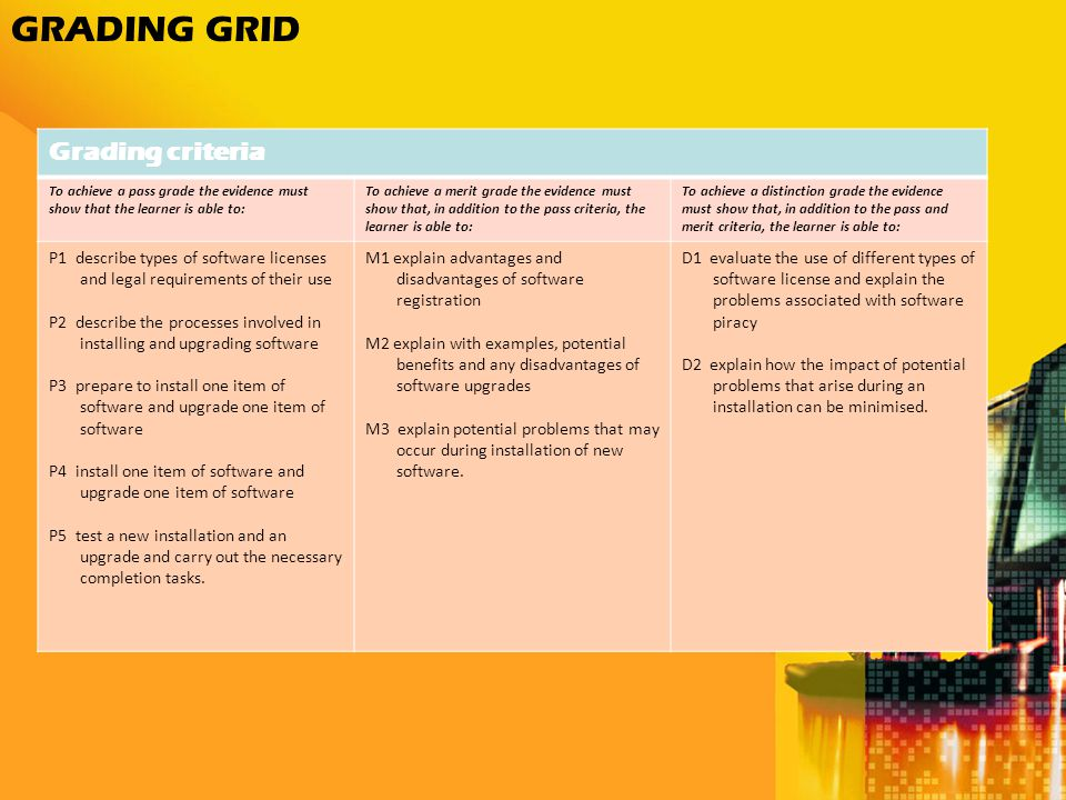 GRADING GRID Grading criteria To achieve a pass grade the evidence must show that the learner is able to: To achieve a merit grade the evidence must show that, in addition to the pass criteria, the learner is able to: To achieve a distinction grade the evidence must show that, in addition to the pass and merit criteria, the learner is able to: P1 describe types of software licenses and legal requirements of their use P2 describe the processes involved in installing and upgrading software P3 prepare to install one item of software and upgrade one item of software P4 install one item of software and upgrade one item of software P5 test a new installation and an upgrade and carry out the necessary completion tasks.