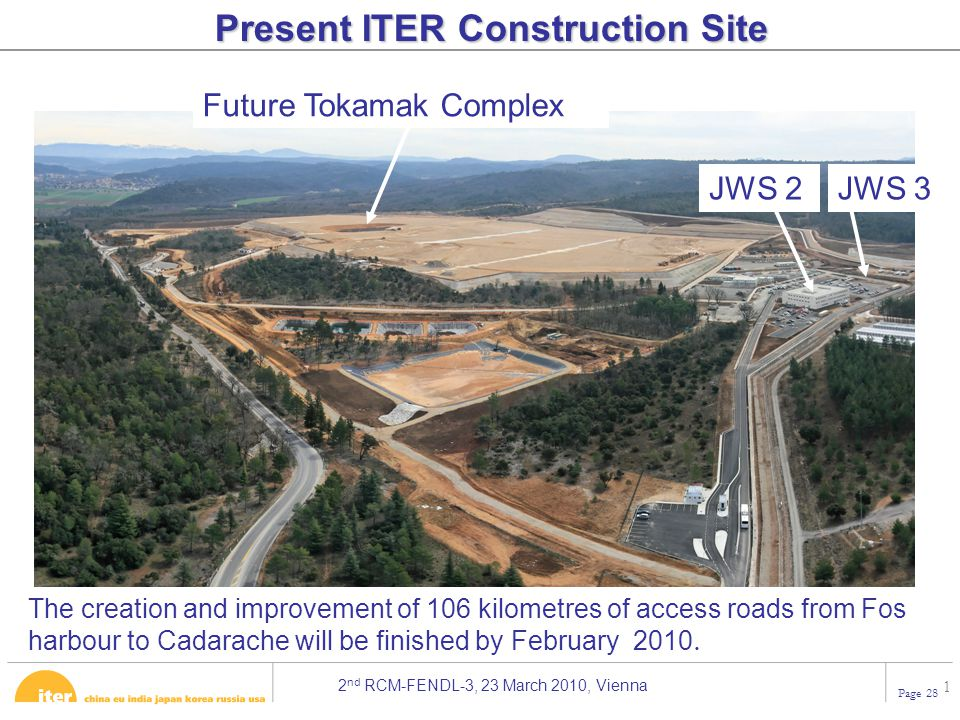2 nd RCM-FENDL-3, 23 March 2010, Vienna Page 28 1 Present ITER Construction Site JWS 2JWS 3 The creation and improvement of 106 kilometres of access roads from Fos harbour to Cadarache will be finished by February 2010.