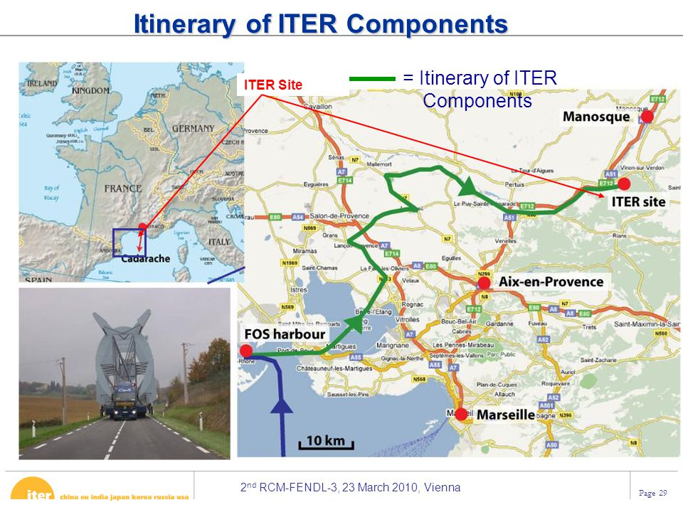 2 nd RCM-FENDL-3, 23 March 2010, Vienna Page 29 Itinerary of ITER Components = Itinerary of ITER Components ITER Site