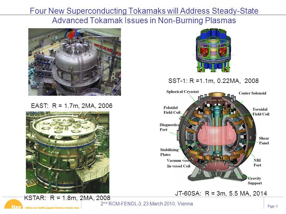 2 nd RCM-FENDL-3, 23 March 2010, Vienna Page 3 EAST: R = 1.7m, 2MA, 2006 KSTAR: R = 1.8m, 2MA, 2008 SST-1: R =1.1m, 0.22MA, 2008 JT-60SA: R = 3m, 5.5