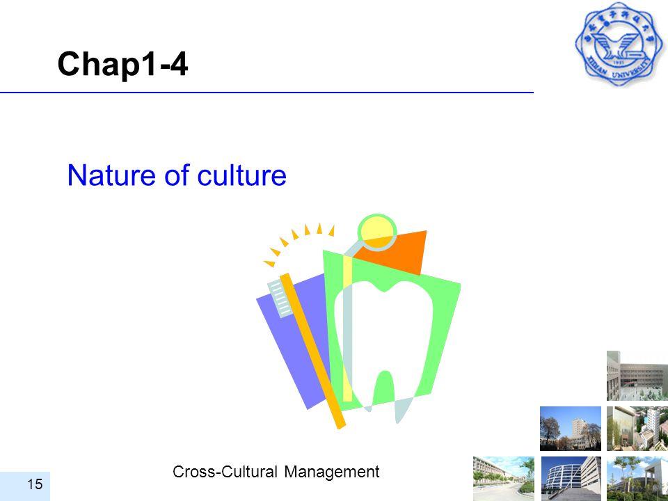 Cross-Cultural Management 15 Nature of culture Chap1-4